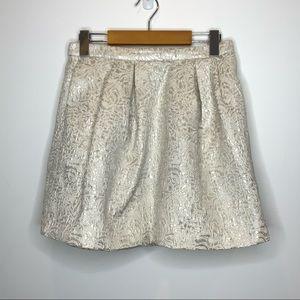 H&M Brocade Pleated Mini Skirt Champagne metallic